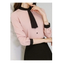 Womens Elegant Tied Collar Long Sleeve Button Down Fitted Shirt Blouse