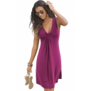 Hot Popular Ruched V-Neck Sleeveless Plain Midi Beach Tank Dress