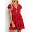 Trendy Plain Button V-Neck Flutter Sleeve Mini A-Line Layered Ruffle Dress