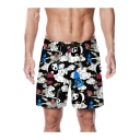 Summer Creative Cartoon Panda Cloud Pattern Black Quick Drying Casual Drawstring Waist Beach Shorts Swim Trunks for Guys with Pockets