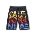 Men's Summer Fashion Letter Print Black Quick Drying Mesh Cloth Drawstring Waist Casual Sports Beach Shorts Swim Trunks