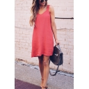 Summer Stylish Plain V-Neck Sleeveless Mini Casual Strap Dress