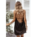 Womens Sexy Black Cut Out Open Back Mini Slip Dress
