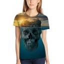Funny 3D Skull Island Print Basic Short Sleeve Blue Unisex T-Shirt