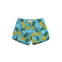 Womens Fashion Blue Pineaaple Print Drawstring Waist Quick Dry Beach Shorts with Side Pocket