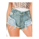 Womens Trendy Light Blue High Rise Distressed Ripped Raw Hem Skinny Night Club Hot Pants Denim Shorts