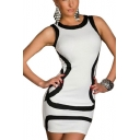Womens Trendy Striped Round Neck Sleeveless White Mini Bodycon Tank Dress