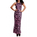 Womens Sexy Pink Leopard Printed Sleeveless Cutout Back Maxi Sheath Dress