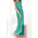 Womens Simple Plain Basic Round Neck Sleeveless Holiday Maxi Chiffon Flowy Beach Dress