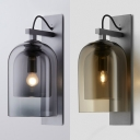 Amber/Smoke Domed Wall Light Contemporary Double Glass Wall Lamp for Bar Cafe Restaurant