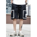 Men's Summer New Trendy Colorblocked Flap Pocket Side Loose Fit Casual Cargo Shorts