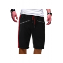 Men's Summer Trendy Contrast Stripe Side Double Zipper Embellished Drawstring Waist Cotton Casual Sports Sweat Shorts