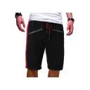Men's Summer Trendy Contrast Stripe Side Double Zipper Embellished Drawstring Waist Cotton Casual Sports Sweat Shorts