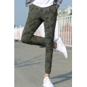 Popular Fashion Camouflage Printed Drawstring Waist Slim Fit Casual Pencil Pants for Men
