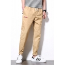 Men's Fashion Letter XNYX Pattern Drawstring Waist Rolled Cuffs Casual Tapered Pants
