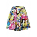 Girls Fashion Cartoon Figure Printed Mini A-Line Pleated Swing Skirt
