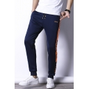 Men's Stylish Letter Printed Colorblock Stripe Side Drawstring Waist Casual Sweatpants