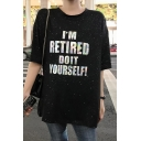Summer Unique Glitter Letter I'M RETIRED Print Round Neck Longline Loose Sequined T-Shirt