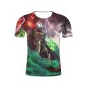 Cool 3D Lightning Comic Figure Print Round Neck Short Sleeve T-Shirt