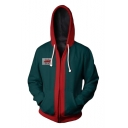 Spider-Man Into the Spider-Verse Cosplay Costume Colorblock Long Sleeve Zip Up Green Hoodie