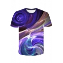 Fashion Purple Abstract Art Whirlpool 3D Print Round Neck Short Sleeve T-Shirt