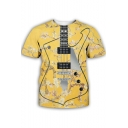 Hot Fashion 3D Guitar Pattern Round Neck Short Sleeve Casual T-Shirt