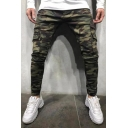 Men's New Fashion Popular Camouflage Printed Flap Pocket Side Army Green Skinny Jeans