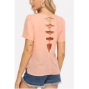 Womens Fancy Light Pink Sexy Hollow Out Back Short Sleeve Round Neck Chiffon Blouse