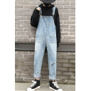 Unisex New Fashion Simple Plain Distressed Ripped Multi-pocket Design Light Blue Casual Bib Overalls