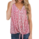 Womens Summer Tribal Printed V-Neck Sleeveless Tied Hem Tank Top