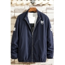 Mens Navy Simple Letter M Logo PUNK Back Stand Collar Zip Up Loose Sport Track Jacket