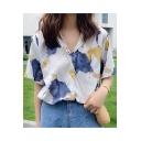 Girls Summer Fancy White Print Short Sleeve Button Down Shirt