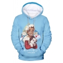 Funny Cartoon Comic Boy with A Dog Pattern Light Blue Pullover Drawstring Hoodie