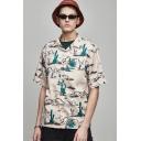 Mens Summer Cool Cactus Printed Short Sleeve Button Front Casual Hawaiian Shirt