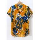 Summer Guys Trendy Yellow Pattern Short Sleeve Casual Loose Cotton Hawaiian Shirt