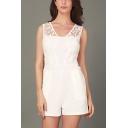 Womens Simple Plain Fashion Lace Floral Print Patchwork V Neck Romper Shorts