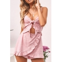 Summer Girls Hot Stylish Pink Spaghetti Straps V Neck Cutout Knotted Front Ruffled Romper