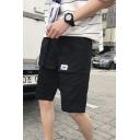 Men's Summer Fashion Label Patchwork Drawstring Waist Casual Cotton Cargo Shorts