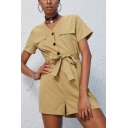 Womens Stylish Cool Khaki Button Front Tie-Waist Short Sleeve Cargo Romper