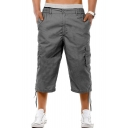 Guys Popular Fashion Simple Plain Flap Pocket Ribbon Embellished Cropped Cotton Cargo Pants