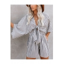 New Trendy Womens Chic V-Neck White and Black Striped Knotted Front Beach Romper