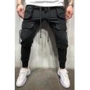 Men's New Stylish Solid Color Multi-pocket Ribbon Embellished Drawstring Waist Casual Pencil Pants