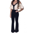 Women's Summer Black and White Patch Sexy V-Neck Cold Shoulder Slim-Leg Fitted Jumpsuits