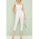 Summer Hot Fashion White Straps Sleeveless Tie-Waist Slim Jumpsuit