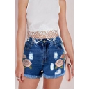Womens Dark Blue Chic Floral Embroidery High Rise Ripped Fringed Hem Skinny Denim Shorts