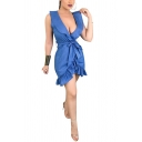 Womens Summer Denim Blue Plain Plunging Neck Sleeveless Tied Waist Mini A-Line Ruffled Dress