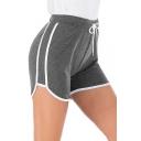 Summer Girls Fashion Contrast Trim Drawstring Waist Slim Fit Sport Shorts