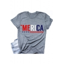 Simple Cool Letter MERICA Print Round Neck Short Sleeve Grey Tee