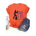 Halloween Fashion Letter BAD GIRLS Print Short Sleeve Orange T-Shirt