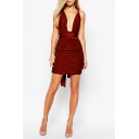 Womens Fancy Simple Plain Sexy Open Back Sleeveless Plunging Neck Multi-Way Ruched Mini Bodycon Dress